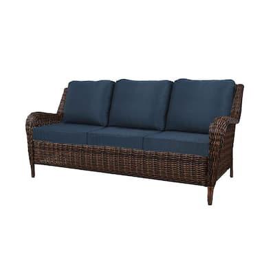 Cambridge Brown 4-Piece Wicker Patio Conversation Set with Blue Cushions