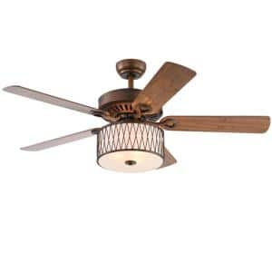 Jan 52 in. Bronze Indoor Remote Controlled Ceiling Fan with Light Kit