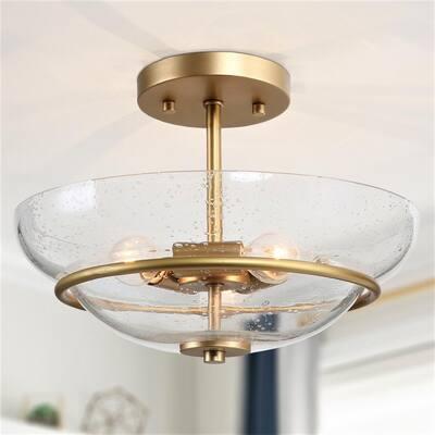 Modern Center Bowl Ceiling Light, Lind 12 in. 3-Light Gold Semi-Flush Mount Light With Seeded Glass Shade