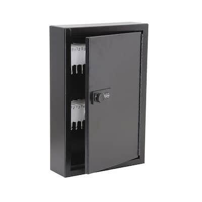 40-Key Steel Heavy-Duty Key Cabinet with Combination Lock, Black