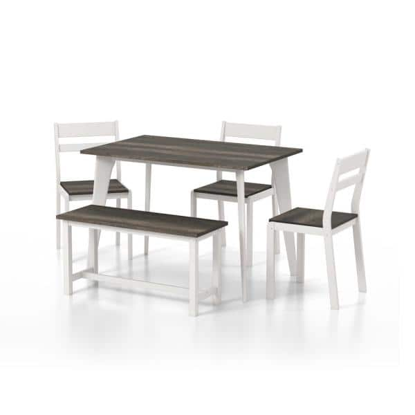 Furniture Of America Miley Gray And, White Dining Room Furniture