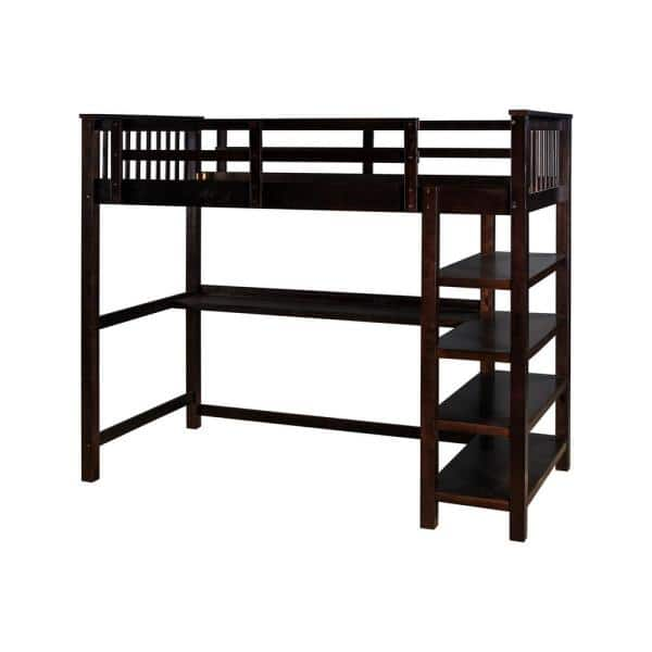 Qualfurn Espresso Rubber Wooden Twin Size Loft Bed With Storage Shelves And Under Bed Desk Bwm000245p The Home Depot