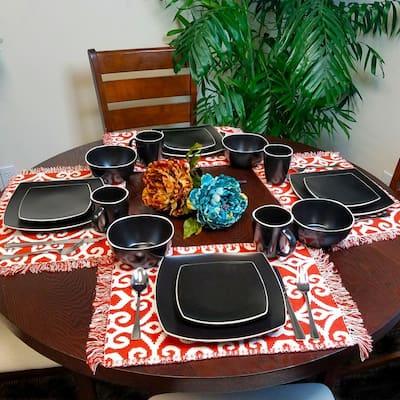 Soho Lounge 16-Piece Casual Black Stone Dinnerware Set (Service for 4)