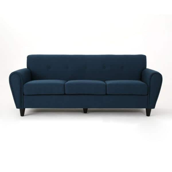 Noble House 78.5 in. Navy Blue Polyester 3-Seater Lawson Sofa with Round Arms   The Home Depot