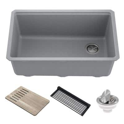 Bellucci Gray Granite Composite 29 in. Single Bowl Undermount Workstation Kitchen Sink with Accessories