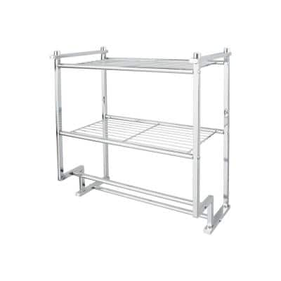 17.62 in. 2-Tier Wall Mounted Shelf with 2 Towel Bars in Chrome