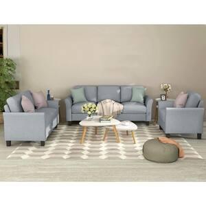3-Piece Gray Living Room Set (Single Chair Sofa + Loveseat + 3-Seat Sofa )
