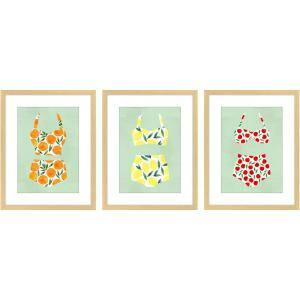 Fruity Suits, Set of 3 Framed Giclee Coastal Art Print 16 in. x 20 in. each
