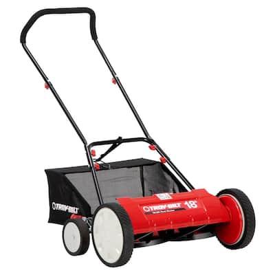 Troy-Bilt 18-in Manual Walk Behind Reel Lawn Mower w/ Grass Catcher