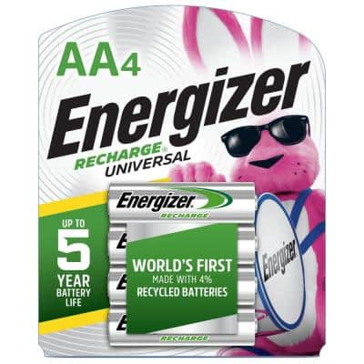 Recharge Universal Rechargeable AA Batteries (4 Pack), Double A Rechargeable Batteries