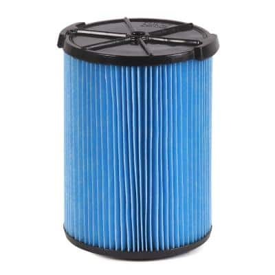 3-Layer Fine Dust Pleated Paper Filter for Most 5 Gal. and Larger RIDGID Wet/Dry Shop Vacuums