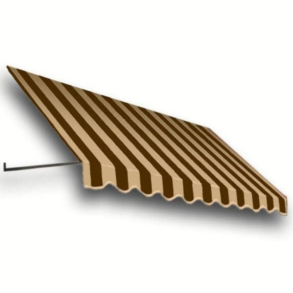 Awntech 8 38 Ft Wide Dallas Retro Window Entry Awning 16 In H X 30 In D Brown Tan Rt1030 8brnt The Home Depot