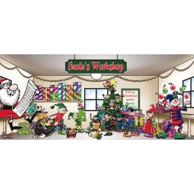 7 ft. x 16 ft. Santa's Workshop Christmas Garage Door Decor Mural for Double Car Garage