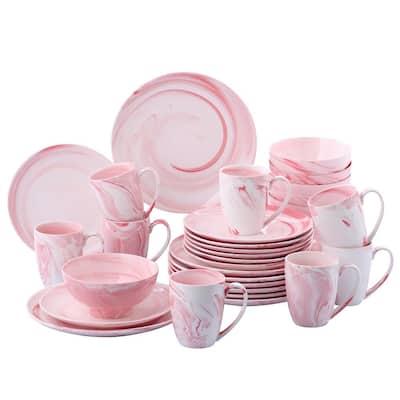 16-Piece Pink Porcelain Dinner Plates, Bowls and Mugs Set Dinnerware Set (Service for 4)