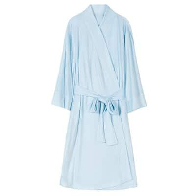 Women's Light Blue L Lightweight Mid-Length Soft Plush Spa Robe