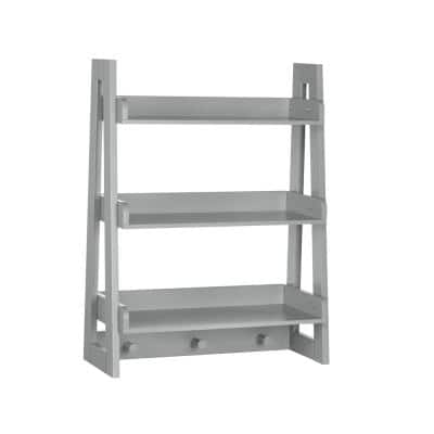 Amery Collection 19.81 in. W Wall  Shelf with Hooks, Gray