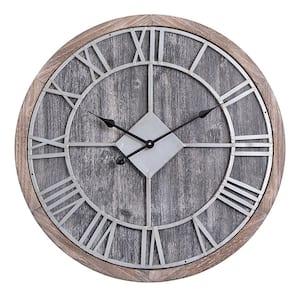 Oversized Roman Round Wall Clock, Gray Wood finish, 28'' Diameter