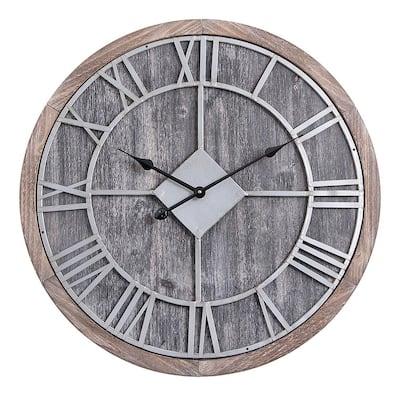 "Utopia Alley Oversized Roman Round Wall Clock, Gray Wood finish, 28"" Diameter"