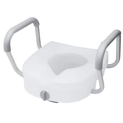 E-Z Lock Raised Toilet Seat With Adjustable Armrests, 5 in.