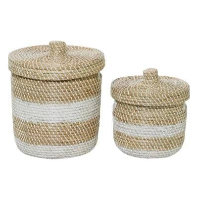 Small White And Natural Woven Striped Round Seagrass Basket With Lid, Set Of 2: 13in , 17in