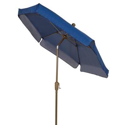 7.5 ft. Champagne Bronze Pole Tilt Garden Market Patio Umbrella in Navy Blue