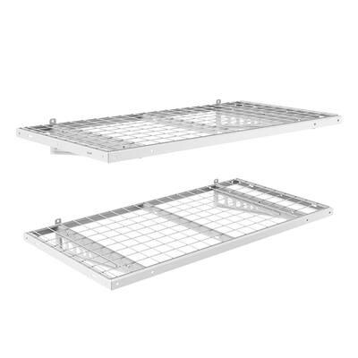 24 in. x 48 in. Steel Garage Wall Shelving in White (2-Pack)