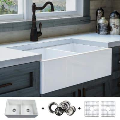 Luxury 33 in. Ultra Fine Fireclay Modern Farmhouse Kitchen Sink in White, Double Bowl with Flat Front, Includes Drain