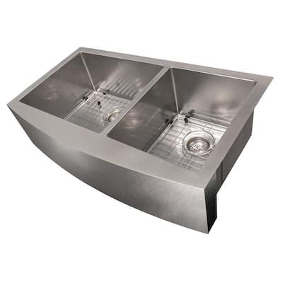 ZLINE 36 in. Courchevel Farmhouse Undermount Double Bowl Sink in DuraSnow®Stainless Steel