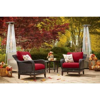 Woodbury 3-Piece Dark Brown Wicker Outdoor Patio Seating Set with CushionGuard Chili Red Cushions