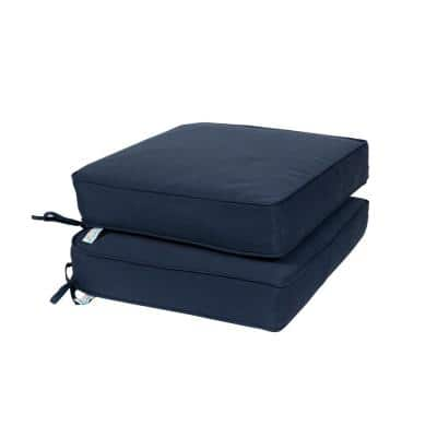 All-Weather 18.5 x 16 2-Piece Outdoor Seat Cushion Navy Solid