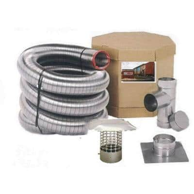 4 in. x 20 ft. Smooth Wall Pellet Stove Stainless Steel Chimney Liner Kit
