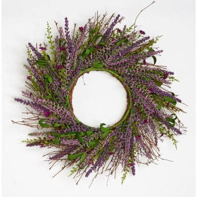22 in. Lavender and Small Flower Twig Wreath