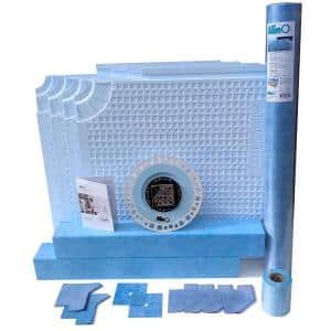 PVC Center Drain Shower Kit with 2-in-1 (Stainless steel/Tile Insert) Black Drain (upto 60 in. x 60 in.)