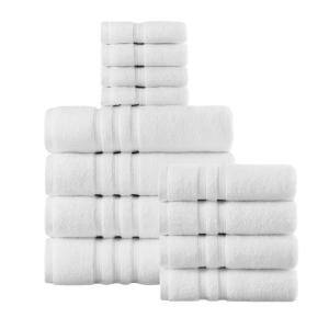 Micro Cotton 12-Piece White Bath Towel Set