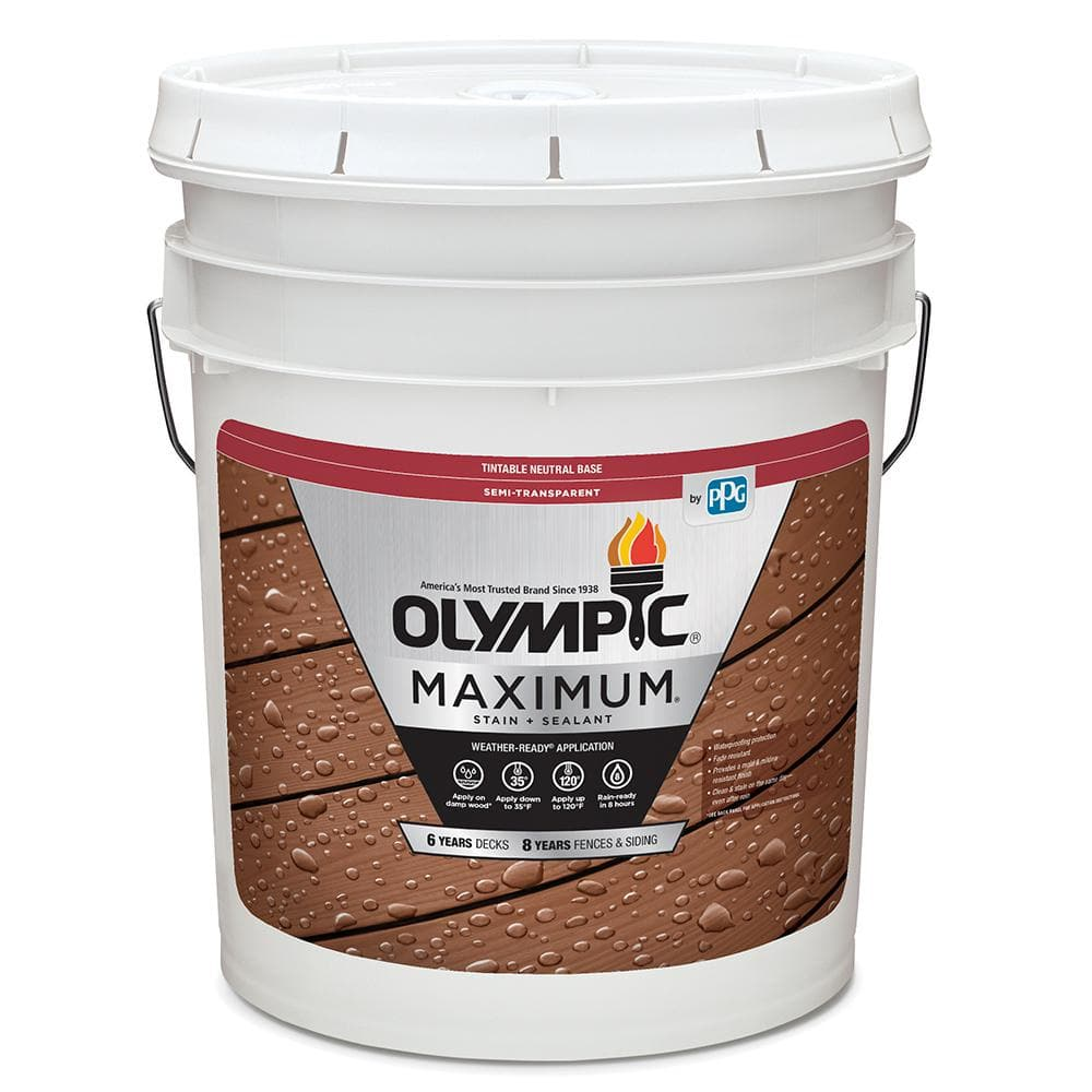 Olympic Maximum 5 Gal Desert Sand Semi Transparent Exterior Stain And Sealant In One Low Voc Oly933 05 The Home Depot
