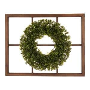 18 in. Dia Boxwood Wreath with 28 in. H Wooden Window Frame