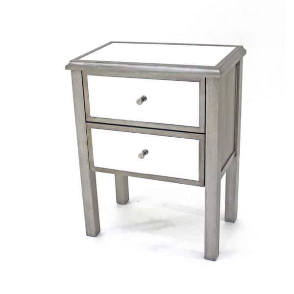 Homeroots Mariana 30 5 In Silver Wood End Table 274403 The Home Depot