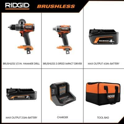18V Brushless Cordless 2-Tool Combo Kit with Hammer Drill, Impact Driver, (2) Batteries, Charger, and Bag