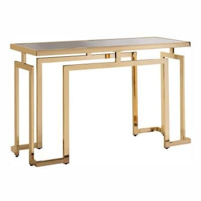 Towson 52 in. Gold Plating and Black Rectangular Glass Top Console Table