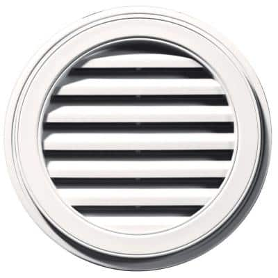 22 in. x 22 in. Round White Plastic Built-in Screen Gable Louver Vent