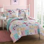 Bonjour Pink 3-Piece Microfiber Comforter Bedding Set - Twin