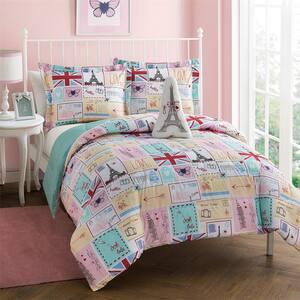 Bonjour Pink 4-Piece Microfiber Comforter Bedding Set - Full