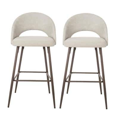 Pale Grey Fabic/Leatherette Bar Stool with Tapered Metal Legs (Set of 2)