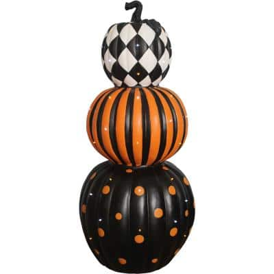 36 in. Indoor/Outdoor Lighted Stacked Pumpkin Trio