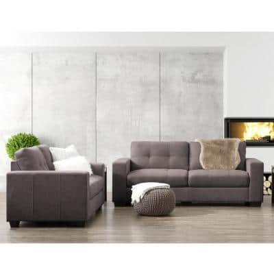Club 2-Piece Tufted Grey Chenille Fabric Sofa Set