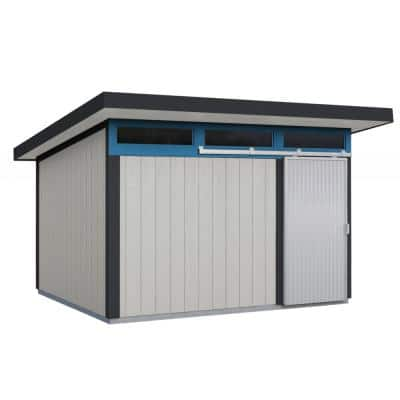 Installed Halcyon 8 ft. x 12 ft. Wooden Shed with Metal Roof