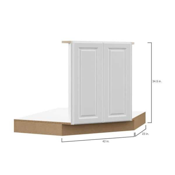 Hampton Bay Designer Series Elgin Partially Assembled 42x34 5x23 75 In Corner Sink Base Kitchen Cabinet In White Bsck42 Elwh The Home Depot