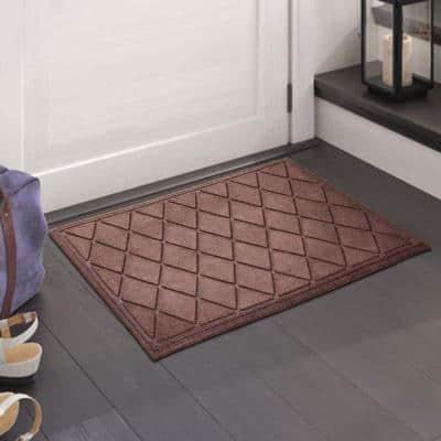 A1HC Diamond Dark Brown 24 in. x 36 in. Eco-Poly Scraper Mats with Anti-Slip Fabric Finish and Tire Crumb Backing
