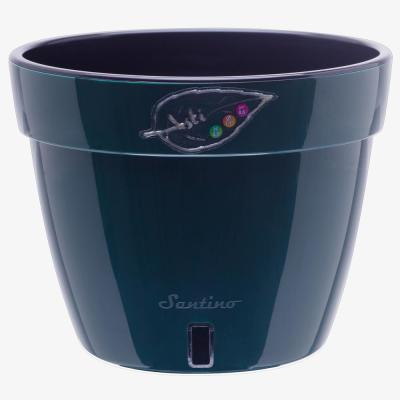Asti 10.6 in. Green/Black Plastic Self Watering Planter