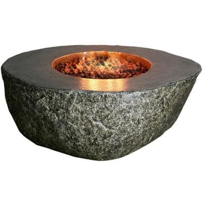 Fiery Rock 42 in. x 17 in. Round Concrete Liquid Propane Fire Pit in Black with Canvas Cover and Lava Rock